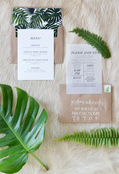 invitation suite for a modern botanical dinner party
