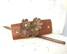 Hey, I found this really awesome Etsy listing at https://www.etsy.com/uk/listing/260680476/flower-hair-slide-leather-hair-stick