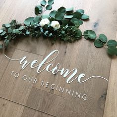 We are obsessed with this acrylic welcome sign (and obviously the greenery). Is anyone else thinking of going acrylic for their wedding?… Diy Wedding, Wedding Trends, Fall Wedding, Floral Wedding, Wedding Bells, Perfect Wedding, Dream Wedding, Wedding Flowers, Elegant Wedding