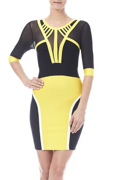 Black and yellow bandage dress with 3/4 sheer mesh sleeves back zipper closure and a sheer back.  Sunlight Dress by ATHYNTIQ. Clothing - Dresses Boca Raton Florida