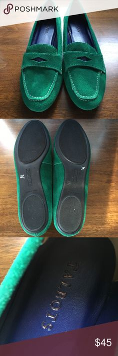 Suede penny loafers - like new Adorable green suede penny loafers with contrasting white stitching.  Worn once but inside only.  Tiny scuff on the left toe that is not visible when worn (see pictures). Talbots Shoes Flats & Loafers