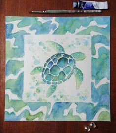 original sea turtle painting watercolor by ArtofChristineBlain