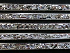 Miscellaneous hand engraved bright cut bracelet done freehand. Handmade, designed and hand engraved by Michael Dobrow at SierraSilverDesigns. Metal Engraving Tools, Engraving Art, Engraved Bracelet, Engraved Jewelry, Edelweiss, Hawaiian Art, Silver Work, Scroll Design, High Art