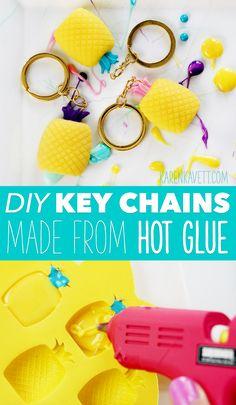 DIY Pineapple Key Chains Made out of Hot Glue! Fun Summer Project! ~ @karenkavett