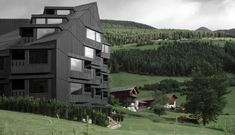 Really cool, contemporary design hugs the traditionalist at the boutique Hotel Bühelwirt in the stunning hiking & ski resort of Valle Aurina/Ahrntal in South Tyrol Italy, member of White Line Hotels Black Architecture, Contemporary Architecture, Concrete Architecture, Architecture Student, Architecture Design, Sand In Taufers, Alpine Hotel, Alpine Chalet, Alpine Forest