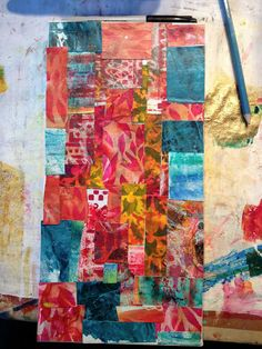 """""""Over the weekend, I prepped a canvas with bits and pieces of leftover gelli plate prints...""""  Jessica Sporn Designs: Blooming True and Tutorial"""