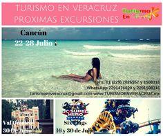 Próximas #excursiones 22-28 de julio a #Cancun, 16 y 30 de julio #SixFlags y 30 de julio Val'Quirico   RESERVA AHORA Más información en: Tels: 01 (229) 202 65 57 y 150 83 16  WhatsApp: 2291476029 y 2291508316 Email / Hangouts: turismoenveracruz@gmail.com Link http://www.turismoenveracruz.mx/