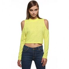 Stylish Women Casual Short Top Sexy Long Off Shoulder Sleeve Slim Solid Blouse