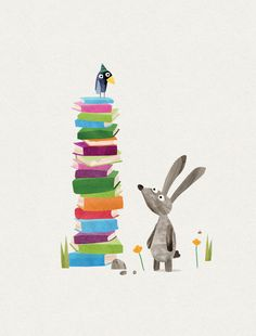 Bunny with a pile of books by Clive McFarland