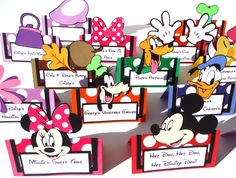 16 Mickey Mouse Clubhouse Themed Tent Style Food Table Label's / Name Cards Minnie Donald Daisy Goofy Pluto by ScrapsToRemember on Etsy https://www.etsy.com/listing/171571107/16-mickey-mouse-clubhouse-themed-tent
