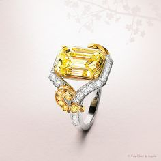 Van Cleef & Arpels High Jewelry solitaire adorned with a 7.76-carat yellow diamond and round diamonds.