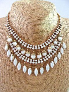 Milk Glass Bib Necklace White Dangles Gold Tone Filigree