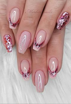 Glittering DIY Pink Square Nail Design, More Suitable For Spring and Summer 2020 - Lily Fashion Style Classy Nails, Stylish Nails, Cute Nails, Best Acrylic Nails, Acrylic Nail Designs, Nail Art Designs, Easter Nail Designs, Nail Designs Spring, Pink Nails