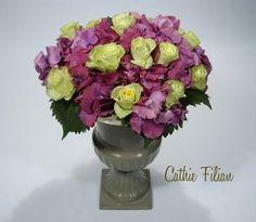 Hydrangea & Lime Green Rose Arrangement.