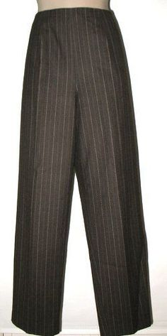 Talbots Stretch Wool Side Zip Trousers - 16 - Pinstripes  Dark Brown Fully lined #Talbots #TrouserPants