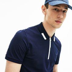 Men's Lacoste Motion Slim Fit Zip Collar Cotton Piqué Polo Shirt - Polo Shirt Style, Polo Shirt Design, Polo Rugby Shirt, Blue Polo Shirts, Pique Polo Shirt, Polo T Shirts, Lacoste Clothing, Collar Designs, Thing 1