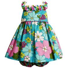 Bonnie Jean Baby/INFANT 12M-24M 2-Piece AQUA-BLUE PINK MULTI 'Island Floral' PRINT RUFFLE NECKLINE Spring Summer Party Dress $29.40