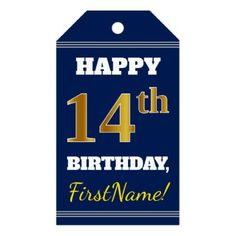 Blue Faux Gold 14th Birthday  Custom Name Gift Tags - cyo diy customize unique design gift idea perfect