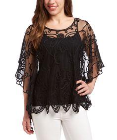 Black Embroidered Silk-Blend Cape-Sleeve Top by Pretty Angel #zulily #zulilyfinds