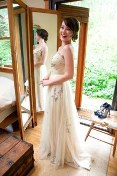 """""""My beautiful custom-made dress by the brilliant Elaine Chun of Geminola in the West Village. After months of fruitless shopping, she made this out of a vintage cathedral veil, basing it on a party dress I had purchased at a Portland thrift shop for $11, years before."""""""