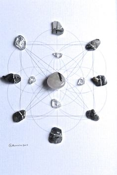 ENERGETIC PROTECTION & PURIFICATION  framed sacred geometry crystal grid :: black tourmalinated quartz, clear quartz
