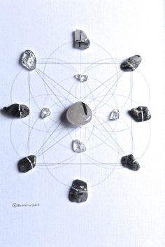 ENERGETIC PROTECTION & PURIFICATION  framed sacred geometry crystal grid :: black tourmalinated quartz, clear quartz