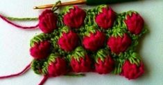 artesanía de Tina: Fresa puntada de ganchillo - tutorial foto