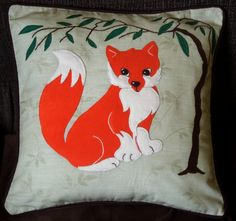 This pillow cover features a cute little red fox sitting under the willow tree.   This colorful and unique pillow is guaranteed to bring individuality to a home and will make a wonderful present for any other occasion for your family, friends and yourself.  It is of my original design and completely hand-sewn which makes it unique. I used the applique technique and embroidery when making it. The pillowcase is made of a very pale green fabric with leaves woven on it; for the fox detail I…