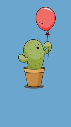 Cactus & Balloon cartoons - Cactus & Balloon cartoon The Effective Pictures We Offer You About Cactus costume A qualit - Wallpaper Iphone Cute, Cute Wallpapers, Wallpaper Backgrounds, Cactus Cartoon, Cute Cartoon, Cute Easy Drawings, Kawaii Drawings, Cactus Quotes, Balloon Cartoon