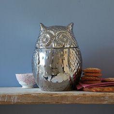 Metal owl cookie jar from West Elm. More owl decor - all kinds - @BrightNest Blog
