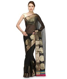 Loved it: Bunkar Black Supernet Banarasi Saree With Blouse Piece, http://www.snapdeal.com/product/bunkar-black-supernet-banarasi-saree/628532554311