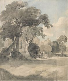 John Constable - Trees in a Meadow, study