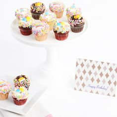 They Say Its Your Birthday! Gourmet Mini Cupcakes! This delicious set of mini gourmet cupcakes includes 3 Chocolate, 3 Vanilla, 3 Strawberry and 3 Red Velvet Cupcakes adorned with festive birthday candies.