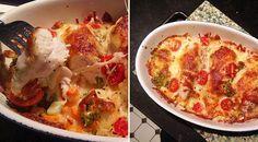Low Carb Rezept für Mozzarella-Gemüsegratin mit Hähnchenfilet. Wenig Kohlenhydrate und einfach zum Nachkochen. Super für Diät/zum Abnehmen.