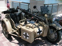 The German Army would have used motorcycles like this on their campaigns in World War Two: this is Zundapp KS750 Sidecar Military Sidehack with Machine Gun: