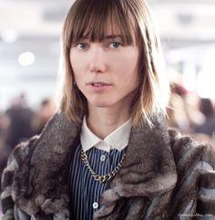 Anya Ziourova, fur coat, striped button down, chain, short hair, bangs / Garance Doré