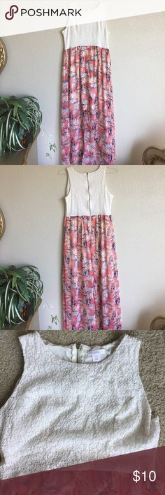 Cute Maxi dress Cute white lacy stretchy upper and chiffon floral lower part. Has a front slit! Lined up to slit. Very cute. Size Large Xhilaration Dresses Maxi