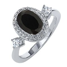 1.26 Ct Oval Black Onyx White Topaz 925 Sterling Sterling Silver Diamond Accent Ring >> CHECK OUT ADDITIONAL DETAILS @: http://www.passion-4fashion.com/jewelry/1-26-ct-oval-black-onyx-white-topaz-925-sterling-sterling-silver-diamond-accent-ring/