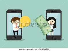 Business concept, businessman and business woman exchanging money for idea via smartphone. Vector illustration.