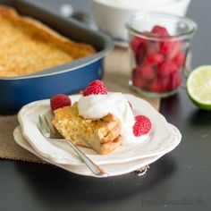 Coco lime cake with whipped cream and fresh raspberries - easy