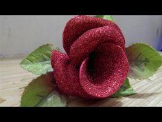 Easy Glitter Foam Sheet Flower - YouTube Glitter Flowers, Diy Flowers, Fabric Flowers, Paper Flowers, Foam Sheet Crafts, Foam Crafts, Diy Christmas Ornaments, Diy Christmas Gifts, Christmas Decorations