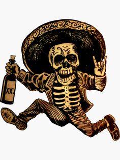 'Posada Day of the Dead Outlaw' Sticker by ShayneoftheDead – Татуювання - Malvorlagen Mandala Mexican Skull Tattoos, Mexican Skulls, Mexican Skeleton, Bild Tattoos, Body Art Tattoos, Calaveras Mexicanas Tattoo, Los Muertos Tattoo, Day Of Dead Tattoo, Dotwork Tattoo Mandala