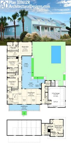 Architectural Designs Net Zero Ready House Plan 33161ZR has an L-shaped lanai in back and a second floor guest suite. Almost 2,900 sq. ft. of living. Ready when you are. Where do YOU want to build?