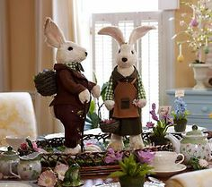 Set of 2 20-inch Decorative Bunny Couple by Valerie