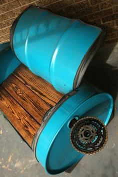 Grapevine artist Rachel Spire turns old bike parts into useful art Garage Furniture, Barrel Furniture, Cool Furniture, Drums For Kids, Drum Lessons For Kids, Drums Artwork, Drum Craft, Oil Barrel, Barrel Projects