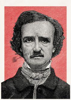 Art print Edgar Allan Poe Portrait illustration Wall art by PRRINT