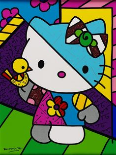 """Yellow Bird"" Hello Kitty painting by Romero Britto - Park West Gallery Toddler Drawing, Drawing For Kids, Art For Kids, Arte Pop, Hello Kitty Imagenes, Disney Minimalist, Hello Kitty Art, Hello Kitty Pictures, Hello Kitty Collection"