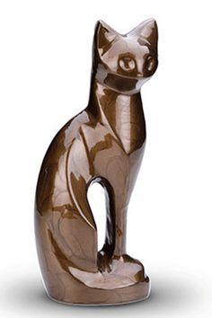Urn kat. Bruine Urn in de vorm van een kat.