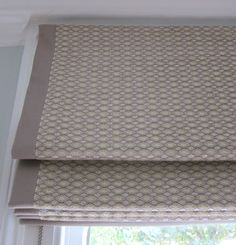 Roman blind with border in Robert Allen Joint Diamonds Sandstone