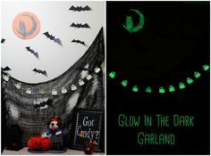 Halloween Decor / Paper Bats & Glow In Dark Garland Sophistishe.com